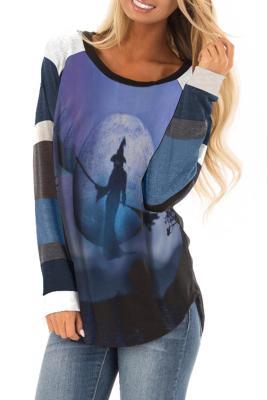 Blue Halloween Theme Long Sleeve Pullover Top