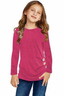 Rose Little Girls Long Sleeve Buttoned Side Top