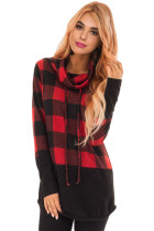 Red Black Plaid Cowl Neck Sweatshirt