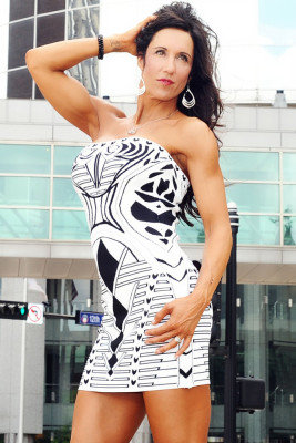 White Geometric Pattern Bodycon Bandage Dress