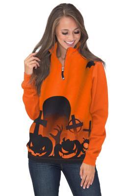 Halloween Screaming Zipped Neck Sweatshirt