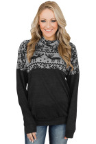 TOUCH OF CHRISTMAS REINDEER COWL NECK TOP BLACK