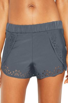 Gray Laser Cut Swim Shorts
