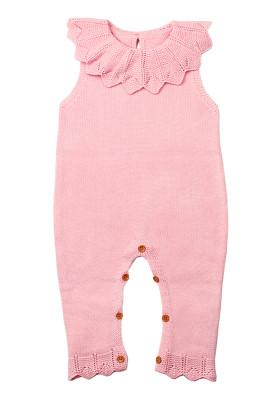 Pink Flounce Neck Detail Unisex Baby Jumpsuit