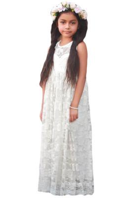 White Sleeveless Rose Lace Flower Girl Dress