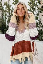 Red Colorblock Distressed Sweater