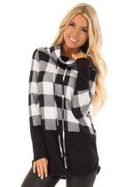 Black White Plaid Cowl Neck Sweatshirt