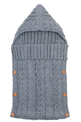 Gray Unisex Baby Cable Knitted Blanket