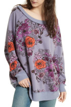 Purple Free People Go on Floral Printed Pullover