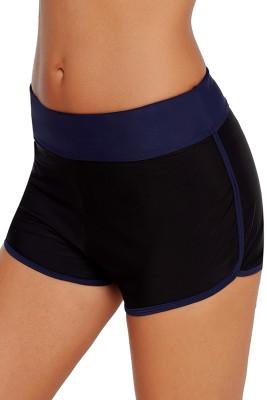 Contrast Navy Blue Trim Swim Board Shorts