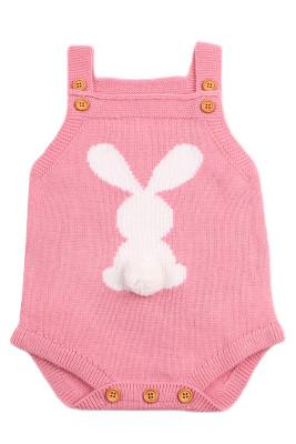 Cute Bunny Knitted Pink Newborn Romper