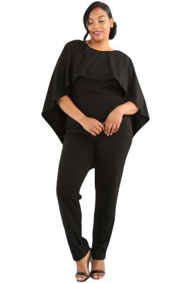 Black Plus Size Cape Ruffle Jumpsuit
