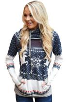 Navy Snow Reindeer Double Hooded Sweatshirt