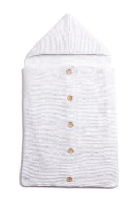 White Knit Hooded Infant Receiving Blanket