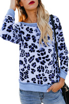 Light Blue Leopard Print Sweatshirt