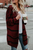 Wine Red Striped Open Front Pocket Cardigan Sweater