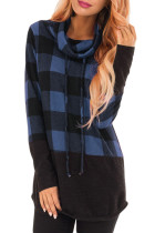 Charcoal Blue Plaid Cowl Neck Sweatshirt