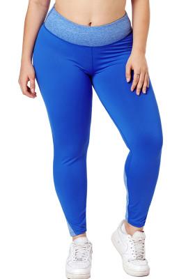 Royal Blue Heathered Splice Plus Size Yoga Pants