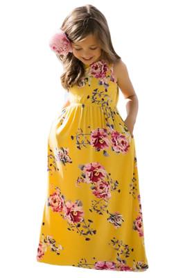 Yellow Floral Print Sleeveless Little Girl Maxi Dress