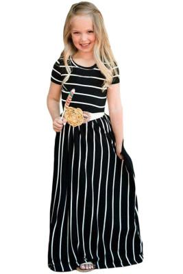 Black Striped Short Sleeve Girl Maxi Dress