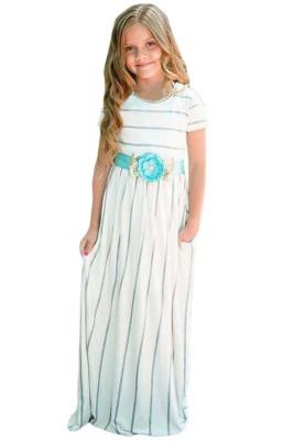 White Striped Short Sleeve Girl Maxi Dress