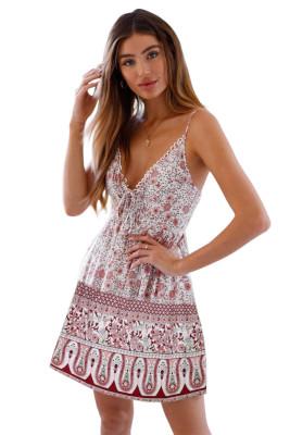 White Floral Pattern Tank Slip Dress