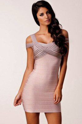 Dark Pink Weave Illusion Top Sexy Bandage Dress