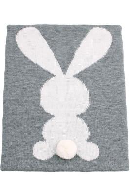 Gray Bunny Animal Muslin Print Swaddle Blanket