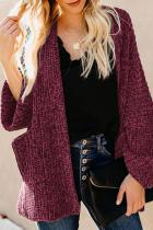 Red Norway Chenille Pocketed Cardigan