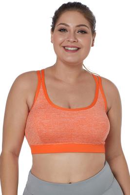Orange Double Straps Heathered Sports Bra