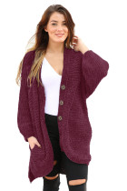 Burgundy Chenille Buttoned Sweater Cardigan