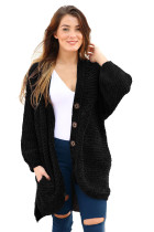 Black Chenille Buttoned Sweater Cardigan
