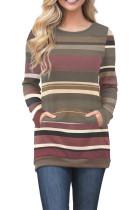 Red Olive Color Gradation Striped Sweatshirt