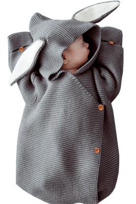 Gray Newborn Knitted Rabbit Ear Style Swaddling Baby Wrap