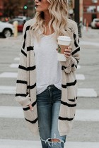 Apricot Striped Open Front Pocket Cardigan Sweater