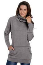 Gray Heathered Kangaroo Pocket Sweatshirt