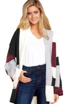 Black Red Multi Colorblock Open Front Cardigan