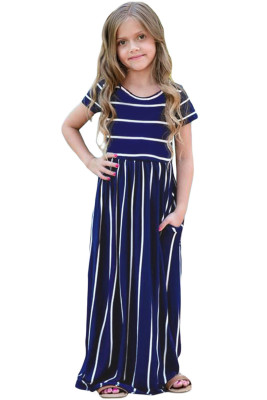 Navy Striped Short Sleeve Girl Maxi Dress
