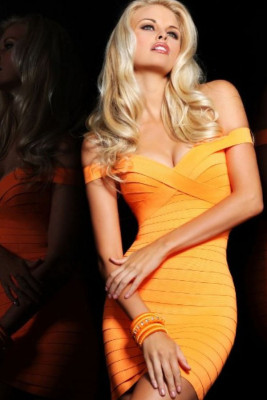 Orange Off-the-shoulder Mini Bandage Dress