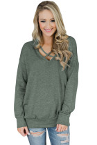 Green V Neck Criss Cross Long Sleeve Sweatshirt