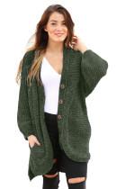 Dark Green Chenille Buttoned Sweater Cardiga