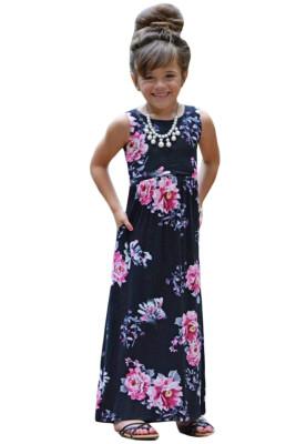 Black Floral Print Sleeveless Little Girl Maxi Dress