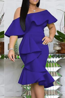 Blue Stylish Off The Shoulder Ruffle Design Knee Length Dress