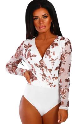 Gold Sequin White Mesh Long Sleeve Bodysuit