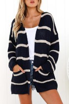 Navy Striped Open Front Pocket Cardigan Sweater