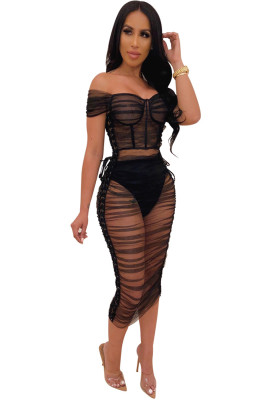 Black Mesh Lace Transparent Pleated Dress Off Shoulder Ruched Bandage Dresses