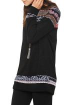 Black Geometric Detail Casual Sweater