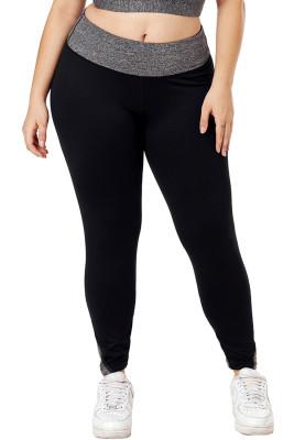 Black Heathered Splice Plus Size Yoga Pants