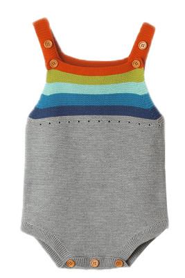 Rainbow Accent Grey Sleeveless Baby Romper