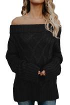 Black Off The Shoulder Winter Sweater